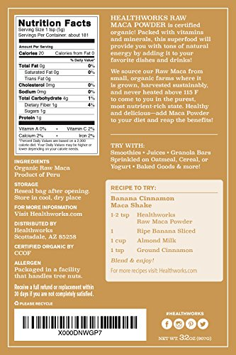 Healthworks Maca Powder, Peruvian Raw Organic, 2lb
