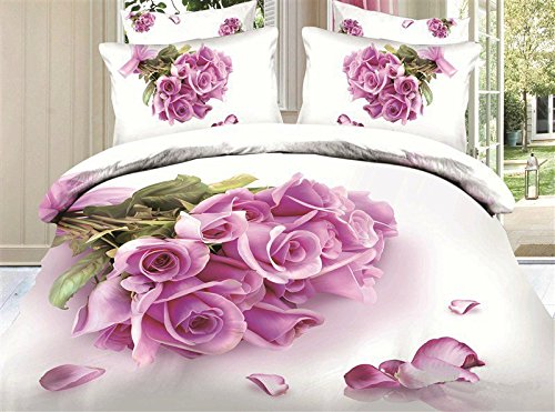 Babycare Pro Bunch of Pink Roses Print 100% Cotton 3d Duvet Cover Bedding Sets 4 Piece King Size