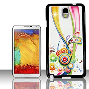 Phone Case for Samsung Galaxy Note 3 Rainbow Circles TPU Plastic Cover Protector FREE Primo Design Cartoon TOTE Bag: