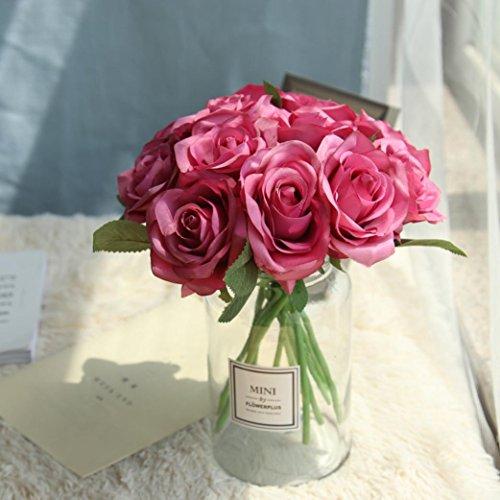 Inverlee 5Pcs Artificial Flowers Rose Floral Fake Flowers Wedding Bridal Bouquet DIY Home Garden Decor (Hot Pink)