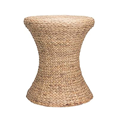 Household Essentials Hourglass Water Hyacinth Wicker Table - Stylish wicker hourglass table made from thick water hyacinth leaves Versatile, lightweight design is easy to move around Metal frame for structural support that maintains the tables shape over time - living-room-furniture, living-room, end-tables - 51hbp%2BqAJlL. SS400  -