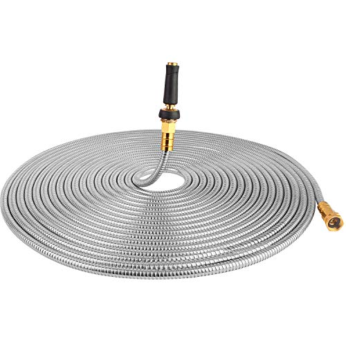 (75' 304 Stainless Steel Garden Hose, Lightweight Metal Hose with Free Nozzle, Guaranteed Flexible and Kink Free)