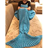 JFQ Handmade Mermaid Tail Blanket,All Seasons Knitted Blanket,Warm Sofa Quilt Living room blanket forte girls and teens 55X 27.5 inches (blue)