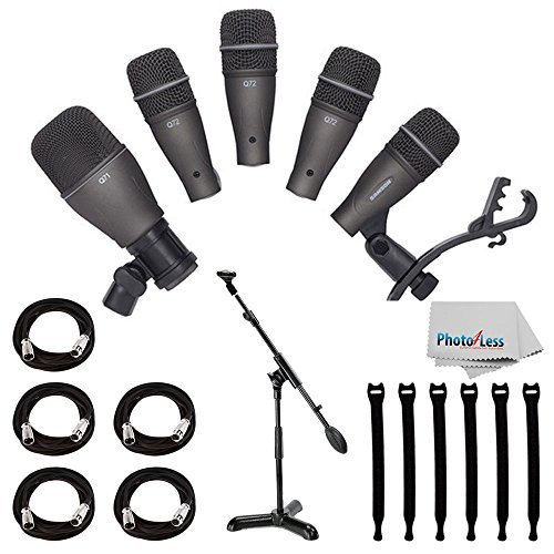 (Samson DK705 5-Piece Drum Microphone Kit + Samson MB1 Mini Boom Stand + 5x Mic Cable, 20 ft. XLR Bulk + Op/Tech Strapeez, Black + Photo4Less Cleaning Cloth - Valued Accessory Bundle)