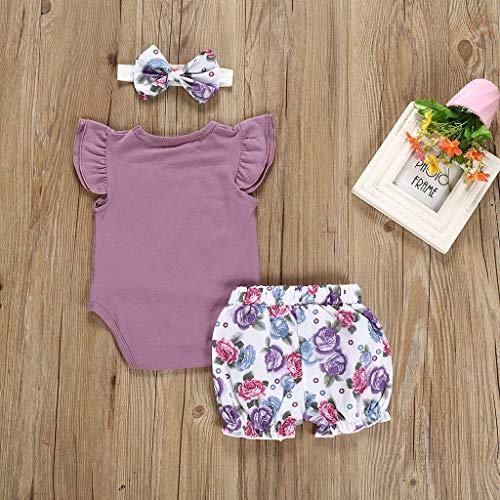 Zegeey Baby M/äDchen Kleidung Strampler Einfarbig Bodysuit Blume Short Hose Mit Stirnband 3-Teiliges Geburtstag Geschenk