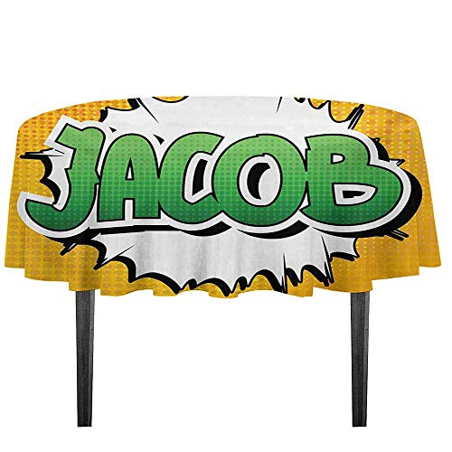 Jacob Waterproof Anti-Wrinkle no Pollution Personal Male Name in Green Shades on Comic Explosion Burst Effect Table Cloth D35.4 Inch Marigold Green and White