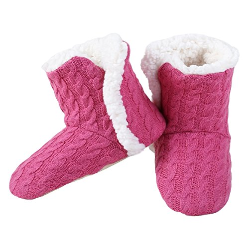 Yelete Womens Cable Knit Slippers House Booties Socks Soft Sherpa Lining Rubber Soles (Sherpa House)