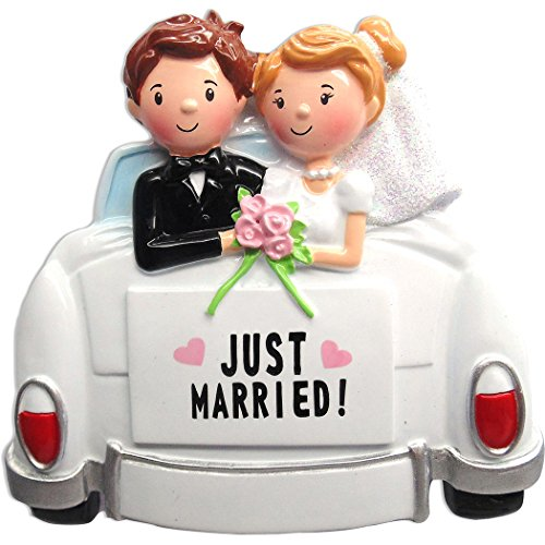 Personalized Just Married Car Christmas Ornament - Happy Bride Groom Couple at The Back Vehicle Glitter Ceremony - Newlyweds Romantic Love Wedding Gift Brunette Blonde - Free Customization by Elves - Groom Christmas Ornament