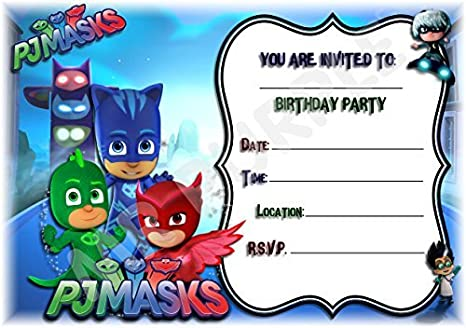 PJ máscaras cumpleaños fiesta invita a - diseño de paisaje ...