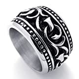 Bishilin Stainless Steel Fashion Men's Rings Massive Wide Retro Silver Size 12