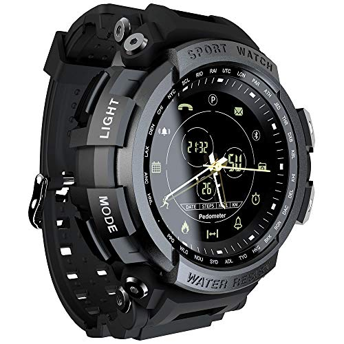 LOKMAT Sports Anolog Digital Smart Watch Men Boys Waterproof Bluetooth Smart Wrist Watch, Smartwatch Walking Calories,Remote Camera, Call/SNS/SMS Reminder iOS Android Smartphone (Black)