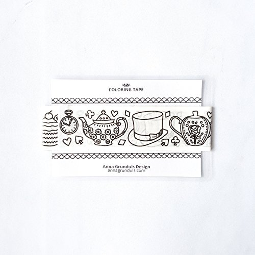 Alice in Wonderland Washi Tape for Bookish DIY Crafts and Adult Coloring, Sample of 40 Inch