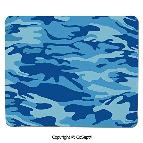 "Premium-Textured Mouse pad,Abstract Camo Navy Military Costume Concealment from The Enemy Hiding,Dual Use Mouse pad for Office/Home (7.87"" x 9.44""),Pale Blue Navy Blue"