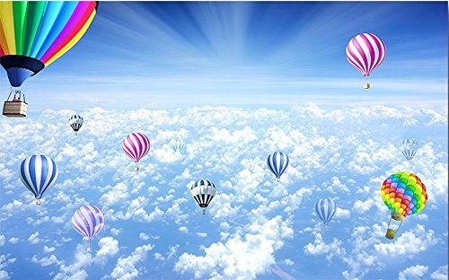 LWCX Custom 3D Landscape Floor Wallpaper Sky Hot Air Balloon 3D Floor Murals Living Room Bathroom Water Proof Vinyl Floor Adhesive 430X280CM