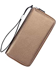 Lavemi Women's RFID Blocking Leather Large Capacity Zip Around Wallet Clutch Travel Purse with Wrist Strap