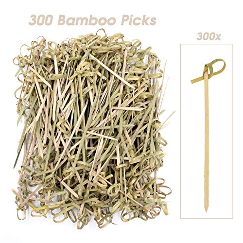 GMAXT Bamboo Cocktail Picks,300 Pack-4.1 inch Bamboo Skewers,Stylish,Natural Bamboo Great For Cocktail Party or BBQ Snacks, Club Sandwiches Etc Keeps Ingredients Pinned Together