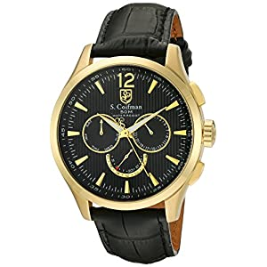 S. Coifman 'Men's' Swiss Quartz Stainless Steel and Leather Watch, Color:Black (Model: SC0123)