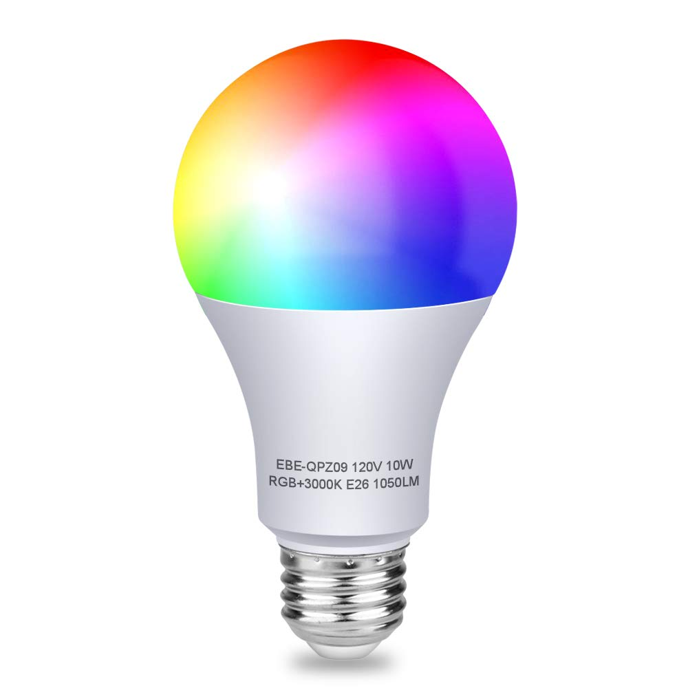 Aigital WiFi Smart Light Bulb,RGB Color Changing Dimmable Smartphone App Controlled Daylight & Night Light,Color Bulbs Compatible with Alexa and Google Assistant,10W Home Lighting,No Hub Required