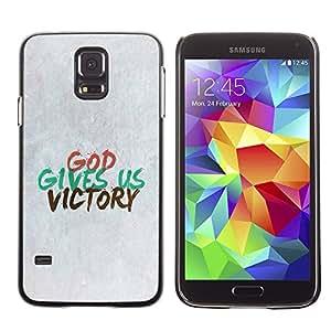 Paccase / Dura PC Caso Funda Carcasa de Protección para - BIBLE God Gives Us Victory - Samsung Galaxy S5 SM-G900