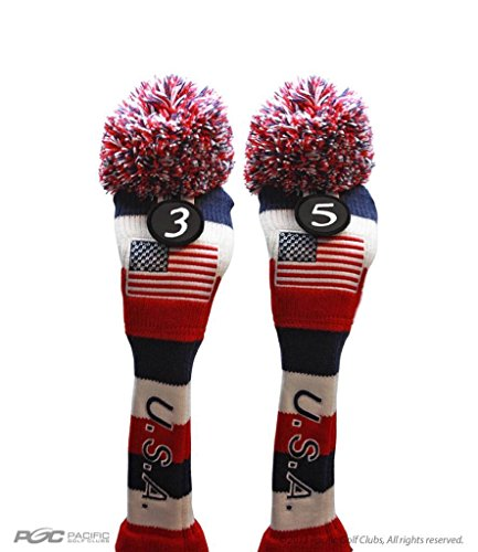 USA Majek Golf 3 5 Fairway Woods Headcovers Pom Pom Knit Limited Edition Vintage Classic Traditional Flag Stars Red White Blue Stripes Retro Head Cover Fits 260cc Woods