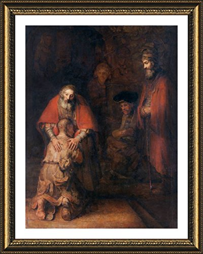 (Alonline Art - Prodigal Son by Rembrandt | Gold framed picture printed on 100% cotton canvas, attached to the foam board | Ready to hang frame | 17