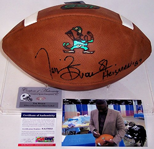 (Tim Brown Autographed Hand Signed Official Notre Dame NCAA Game Model Leather Football - with Heisman 87 Inscription - PSA/DNA)