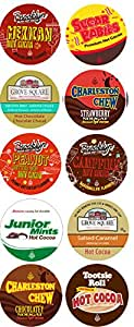 10 Cup Crazy CANDY Hot Cocoa Sampler! NEW! Candy Inspired Hot Chocolate Single Serve Cups! Tootsie Roll Cocoa, Junior Mint Cocoa, Peanut Butter Cup cocoa ++