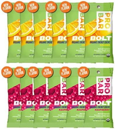 Probar Bolt Organic Energy Chews Orange and Raspberry – Six of Each Flavor, Box of 12