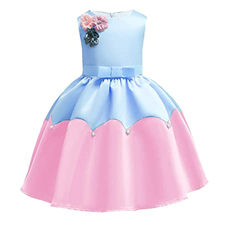 Mealeaf Vestido de Fiesta de cumpleaños para niñas (12 M-7 ...