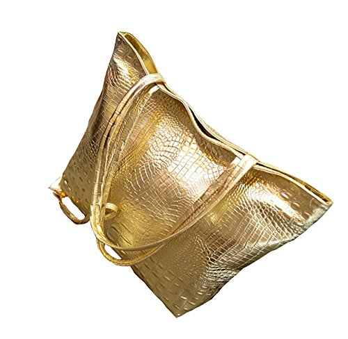 Gold Large Tote - Women's Leather Crocodile Snake Tote Large Satchel Purse Work (Gold)