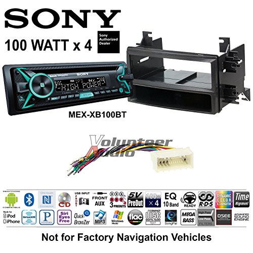 Volunteer Audio Sony MEX-XB100BT Double Din Radio Install Kit with Bluetooth, CD Player, USB/AUX Fits 2007-2009 Hyundai Entourage (Without Factory Navigation)