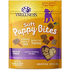 Wellness Just for Puppy Natural Dog Treats are wholesome, all natural soft, tasty, bite-sized dog treats made in USA only and specially formulated for puppies under 1 year with delicious lamb and salmon flavor and wholesome meat, grains, fruits and v...