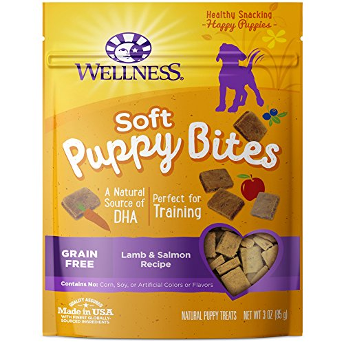 Wellness Soft Puppy Bites Natural Grain Free Puppy Training Treats, Lamb & Salmon, 3-Ounce (Treats Salmon)