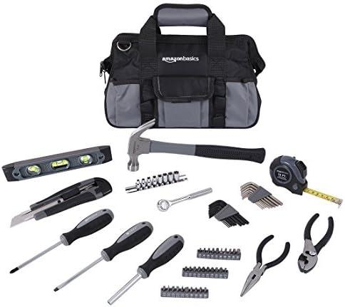 Amazon Basics 65 Piece Home Basic Repair Tool Kit Set With Bag
