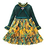 Coralup Little Girls Toddler Sweater Knitted Floral Dress Green 4-5 Years