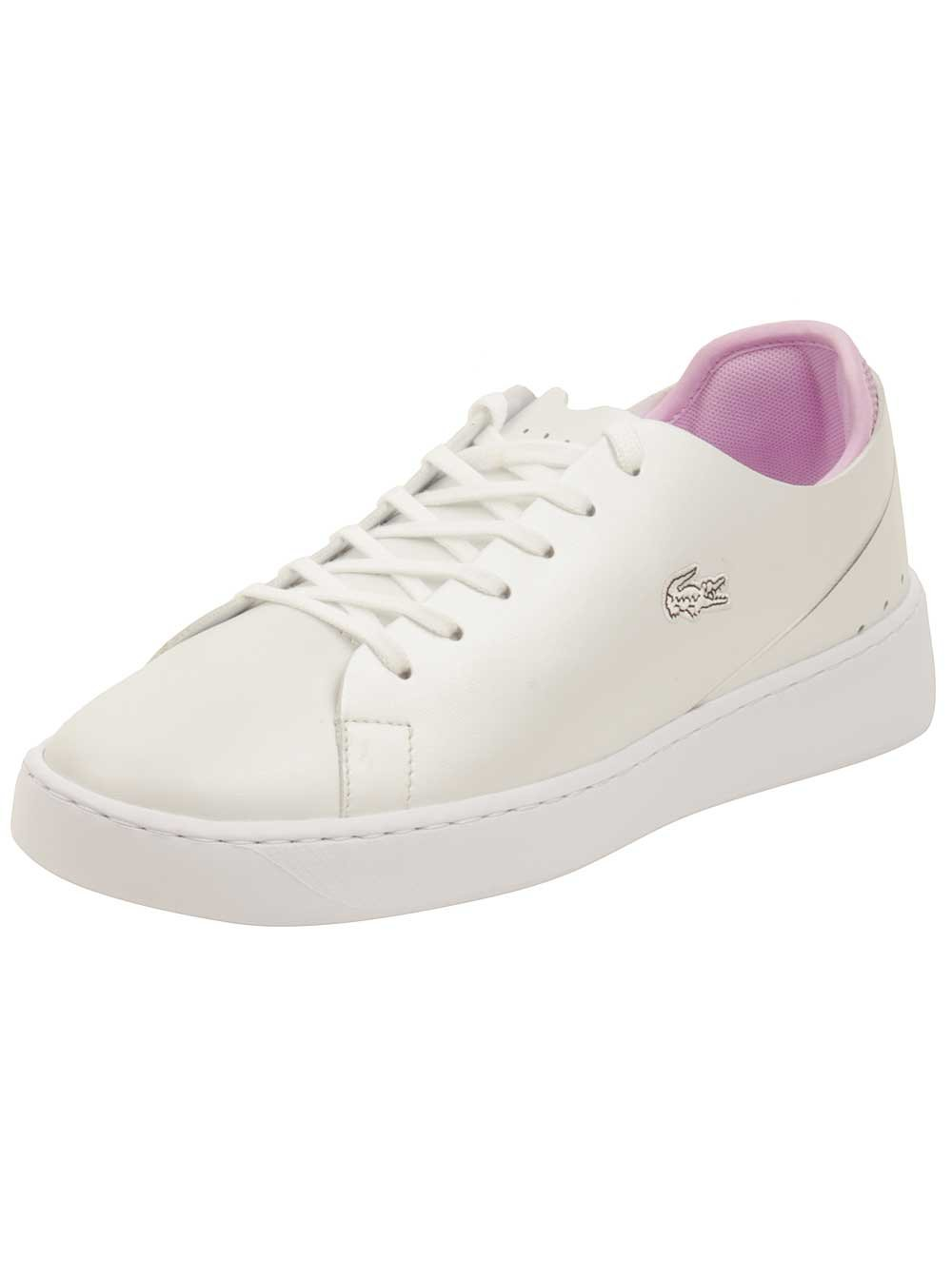Lacoste Women's Eyyla Sneakers,White/Light Purp Leather,7.5 M US