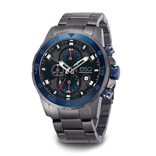 ESQ E060 Chronograph Gun Metal Bracelet Watch with Black Dial, Date Window