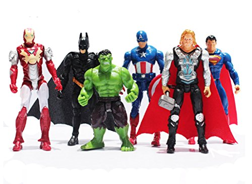 Superheroes The Avengers Batman Superman Iron Man Hulk Thor Captain America Joint Moveable PVC Figure Model Toys 6 Pieces (Toys And Models compare prices)