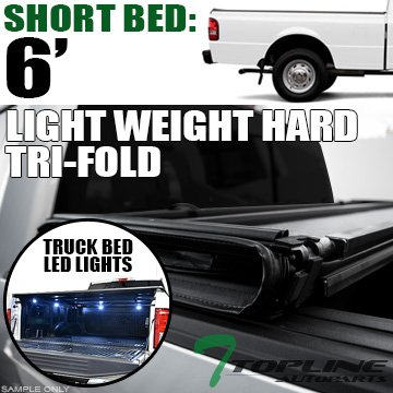 Topline Autopart Lightweight Tri Fold Hard Vinyl Tonneau Cover & Truck Bed LED Lighting System For 83-11 Ford Ranger ; 94-10 Mazda B-Series B2300 / B2500 / B3000 / B4000 6 Feet (72