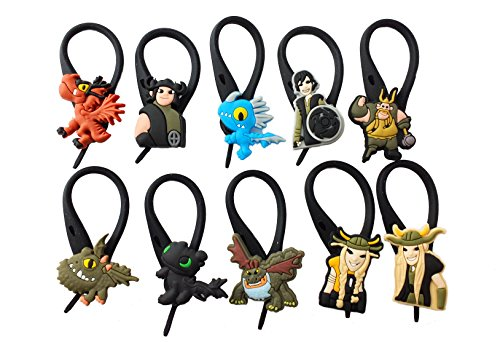 Toothless Night Fury Costumes (AVIRGO 10 pcs Soft Zipper Pull Charms for Bag Jacket Set # 55-3)
