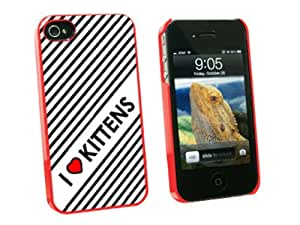 Graphics and More I Love Heart Kittens Cats Snap-On Hard Protective Case for Apple iPhone 4/4S - Non-Retail Packaging - Red