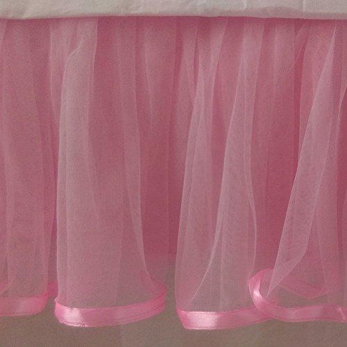 Pink Tulle Tutu Satin trim Cotton Lined Bed Skirt - Detachable option (Queen Bedskirt Detachable Cotton)