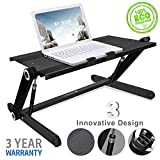 Portable Laptop desk Height Adjustable / Aluminum Stand Up Table Organizer Monitor Desk Sit Stand/ Ergonomic Lightweight Desktop Standing Computer Monitor-Workstation for Home &Office/ Easy Conversion