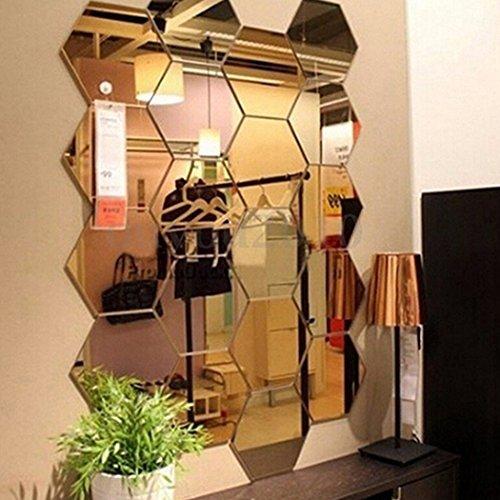 3D DIY Acrylic Mirror Wall Sticker Clock Home Decoration Gold - 6