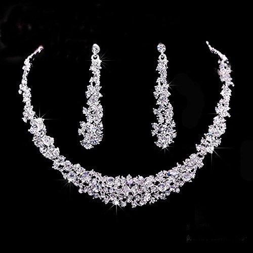 Sinfu Women's Necklace Earrings Set Bridal Shiny Pleated Rhinestone Necklace Earring Set