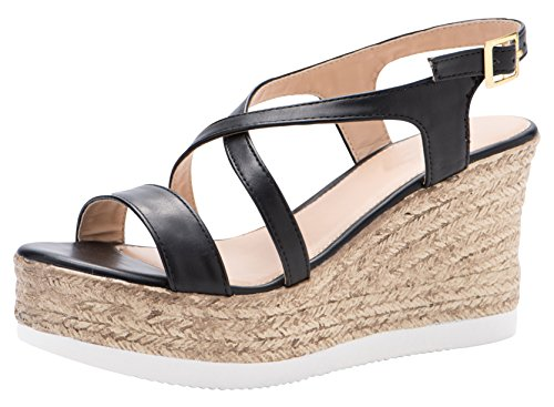 Cambridge Select Women's Open Toe Crisscross Strappy Slingback Espadrille Platform Wedge Sandal (8.5 B(M) US, Black)