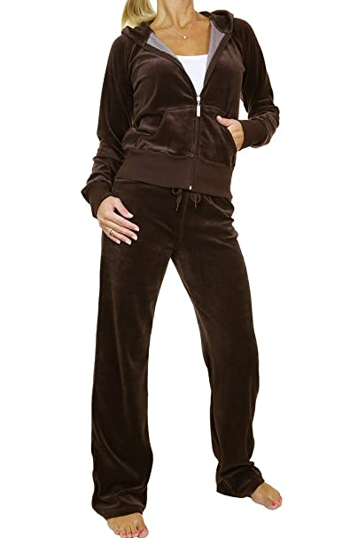 ICE (6327-16) Womens Hooded Velour Tracksuit Chocolate Brown (S ... 01cf20fbc3c9