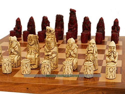 Berkeley Medieval Ornamental Chess Set (Cream and Red, Board Not Included)