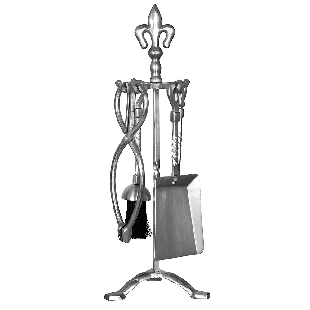 Home Discount® 5 Piece Fleur De Lys Fire Companion Set , Pewter Fireside