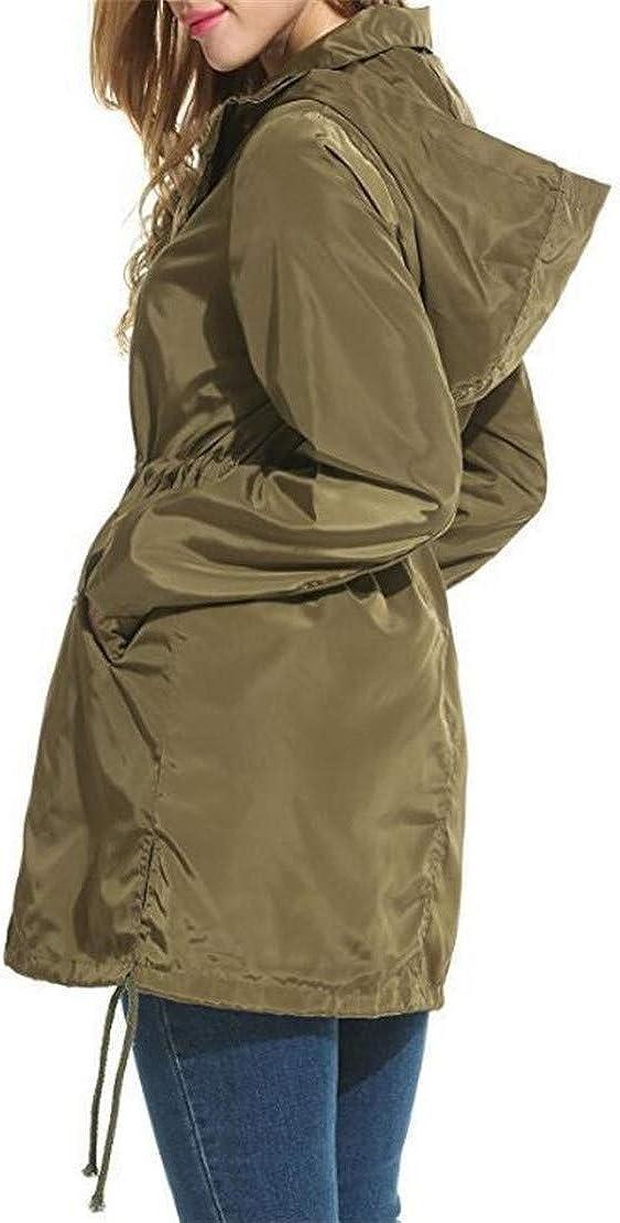 Hilization Women Side Slit Pockets Windbreaker Waterproof Raincoat Zipper Jackets